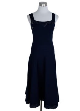 Chanel Blue Navy Viscose Polyamide Long Dress 1
