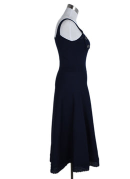 Chanel Blue Navy Viscose Polyamide Long Dress 2