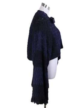 Cardigan Chanel Size 8 Blue Navy Silk Sweater 2