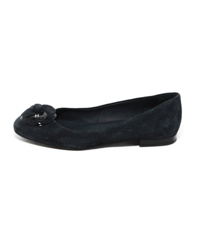 Chanel blue navy suede flower flats 1