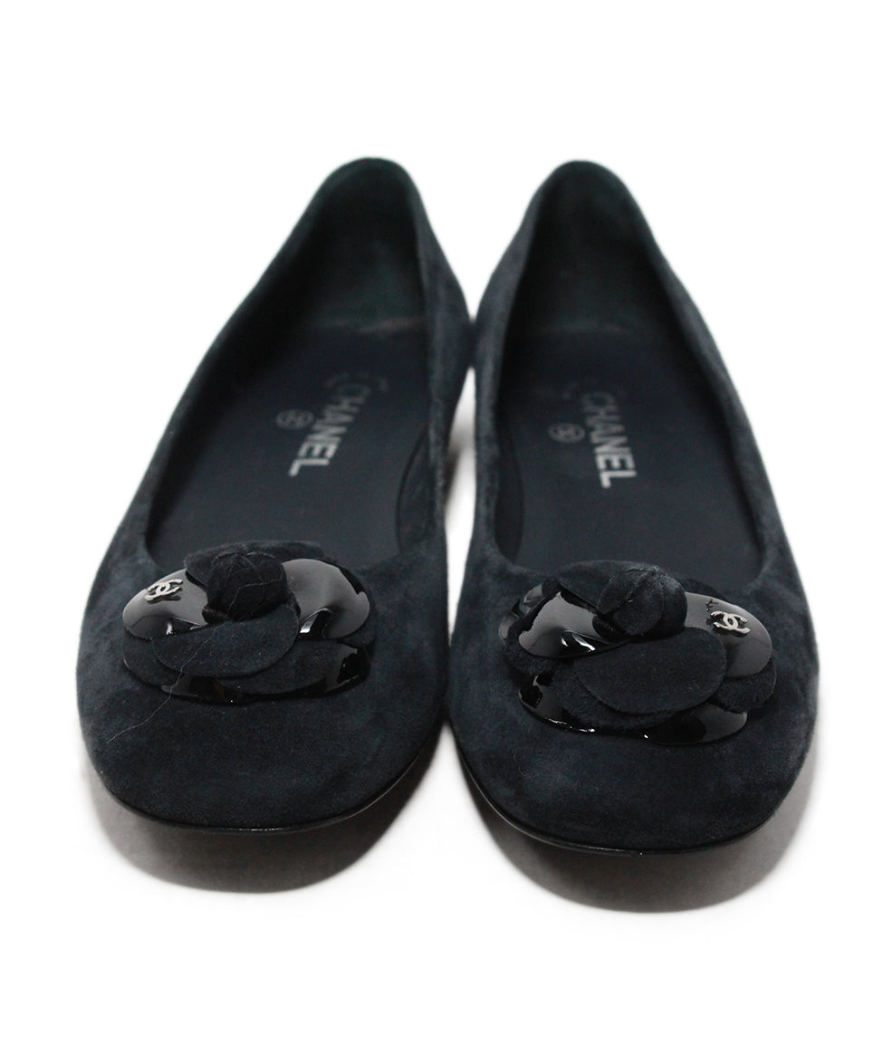 Chanel blue navy suede flower flats 4