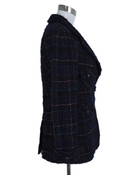 Chanel Blue Navy Tweed Multi Lurex Jacket 2