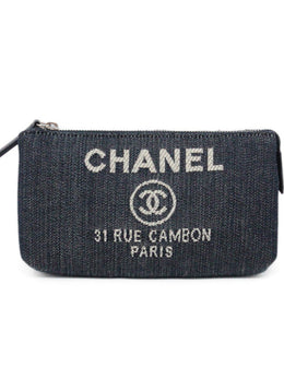 Chanel Blue Navy White Cotton Denim W/Dust Bag Misc. 1