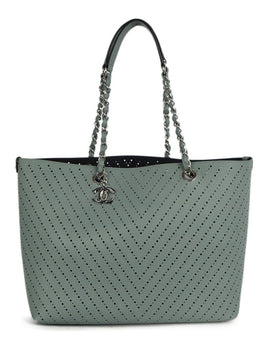 Chanel Blue Pale Perforated Caviar Leather Tote Handbag 1