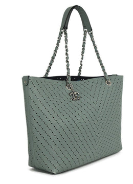 Chanel Blue Pale Perforated Caviar Leather Tote Handbag 2