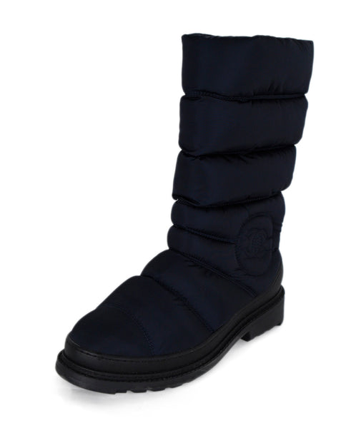 Chanel Blue Quilted Nylon Boots 1