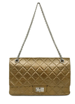 Chanel Brown Bronze Leather Pewter Classic reissue 2.55 Handbag 1