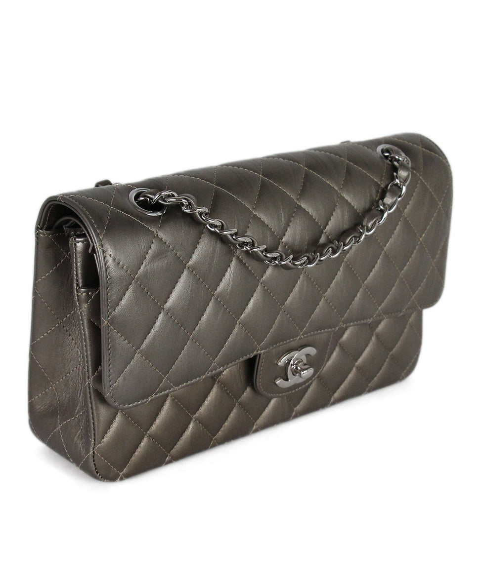 Chanel Metallic Bronze Quilted Leather Shoulder Bag 2