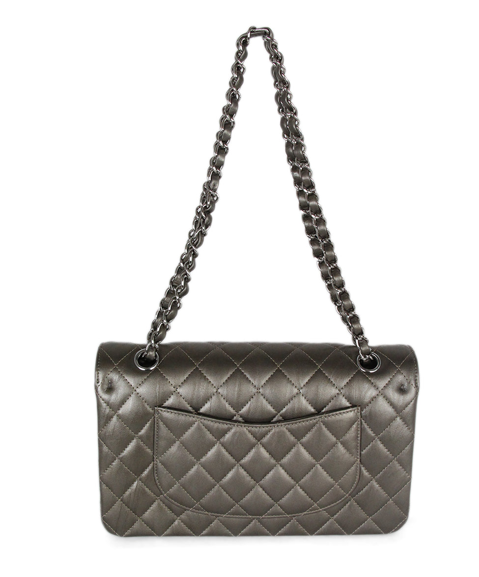Chanel Metallic Bronze Quilted Leather Shoulder Bag 3