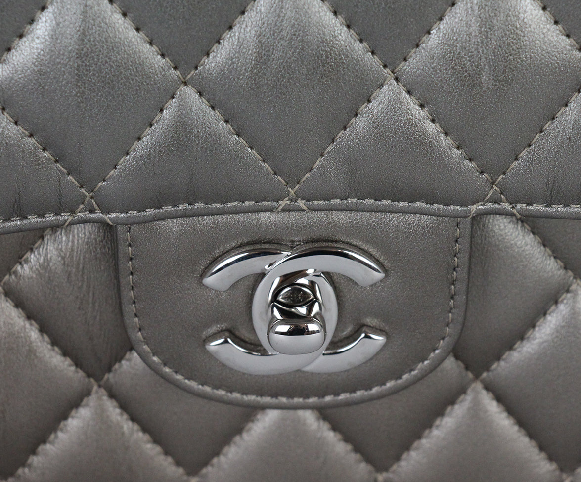 Chanel Metallic Bronze Quilted Leather Shoulder Bag 8