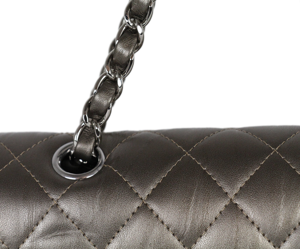 Chanel Metallic Bronze Quilted Leather Shoulder Bag 9
