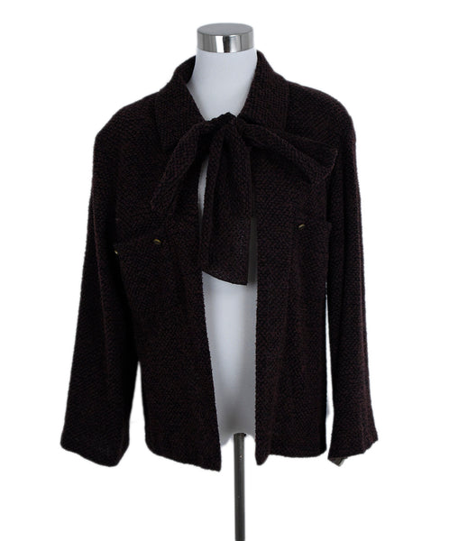 Chanel Brown Black Wool Polyamide Jacket 1