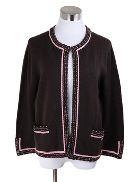 Cardigan Chanel Brown Cashmere Pink Trim Sweater 1