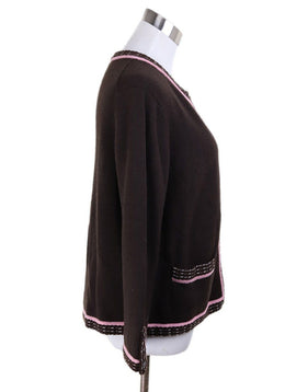 Cardigan Chanel Brown Cashmere Pink Trim Sweater 2