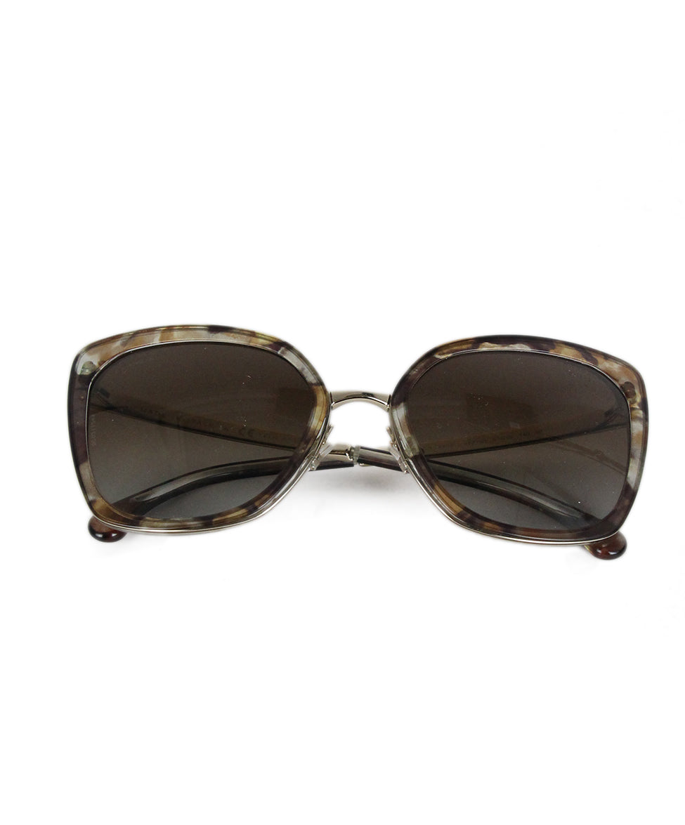 Chanel brown clear plastic gold metal sunglasses 1