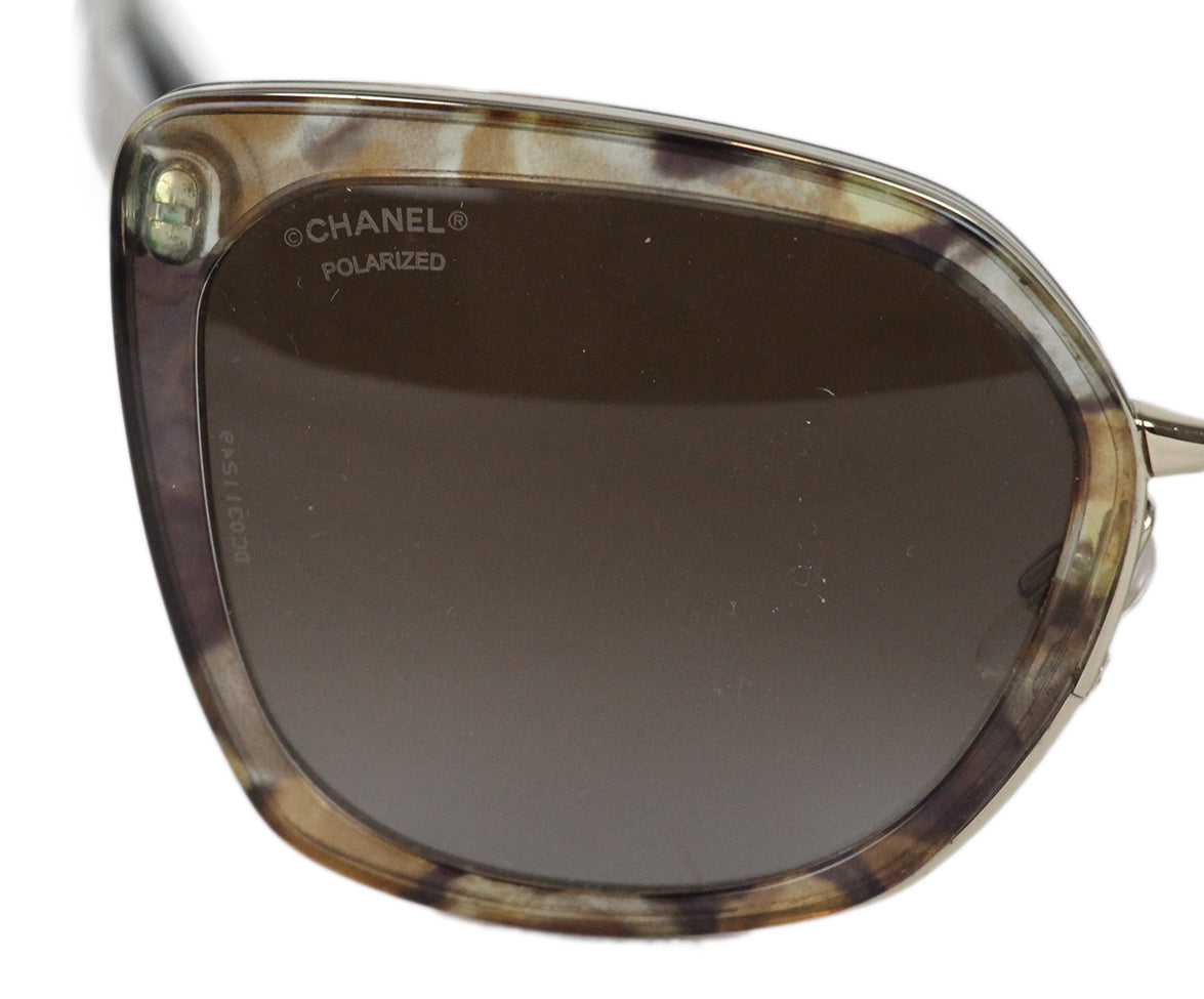 Chanel brown clear plastic gold metal sunglasses 5