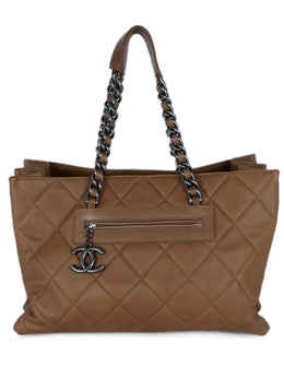 Chanel Brown Khaki Quilted Leather Tote Handbag 1