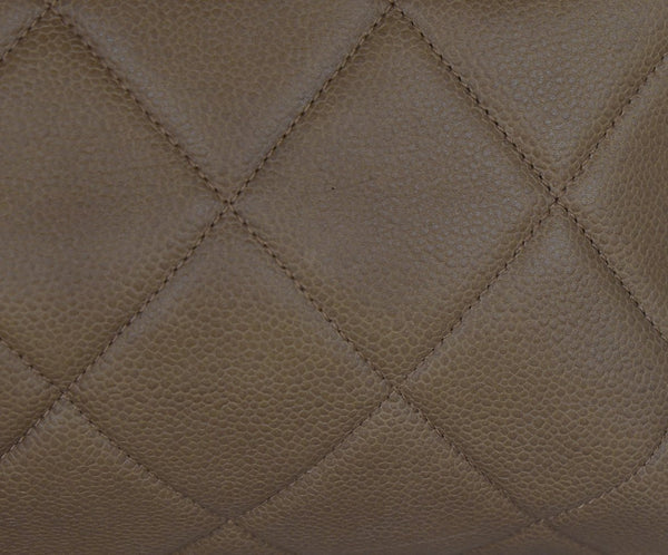 Chanel Brown Khaki Quilted Leather Tote Handbag 8