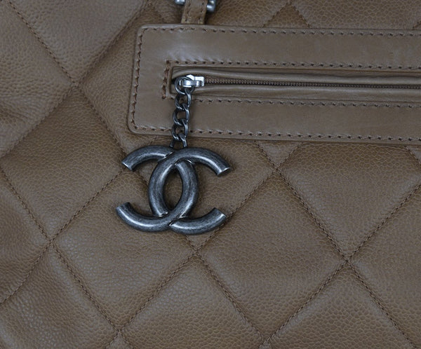 Chanel Brown Khaki Quilted Leather Tote Handbag 9