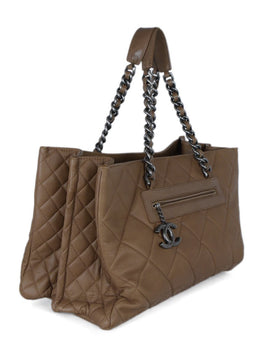 Chanel Brown Khaki Quilted Leather Tote Handbag 2