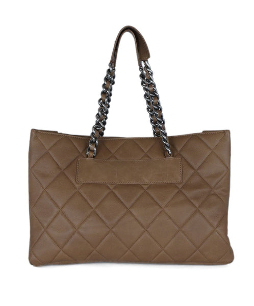 Chanel Brown Khaki Quilted Leather Tote Handbag 3
