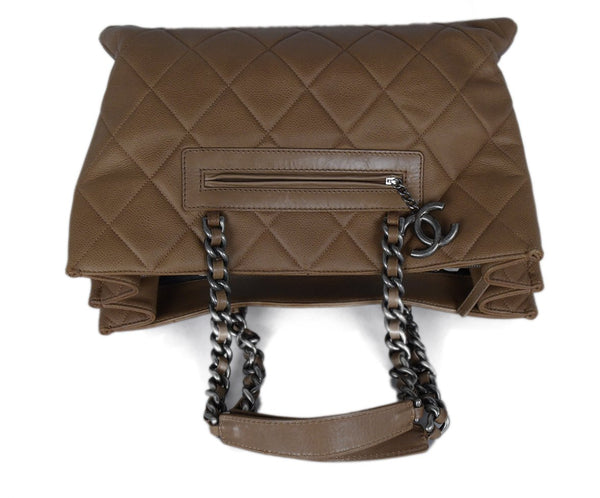 Chanel Brown Khaki Quilted Leather Tote Handbag 5