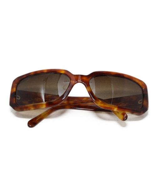 Chanel Brown Plastic Gold Inlay Sunglasses 1