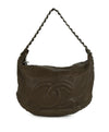 Chanel Pewter Hardware Brown Taupe Leather Shoulder Bag Handbag 1