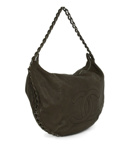 Chanel Pewter Hardware Brown Taupe Leather Shoulder Bag Handbag 2
