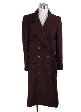 Chanel Burgundy Wool Lurex Coat 1