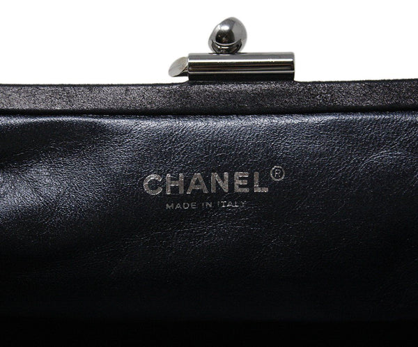 Chanel Charcoal grey leather clutch 9