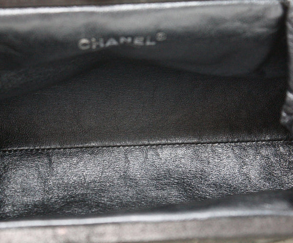 Chanel Charcoal grey leather clutch 5