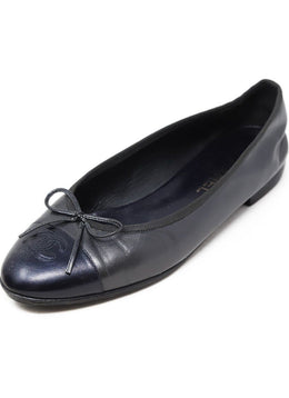 Chanel Charcoal Leather Flats 1
