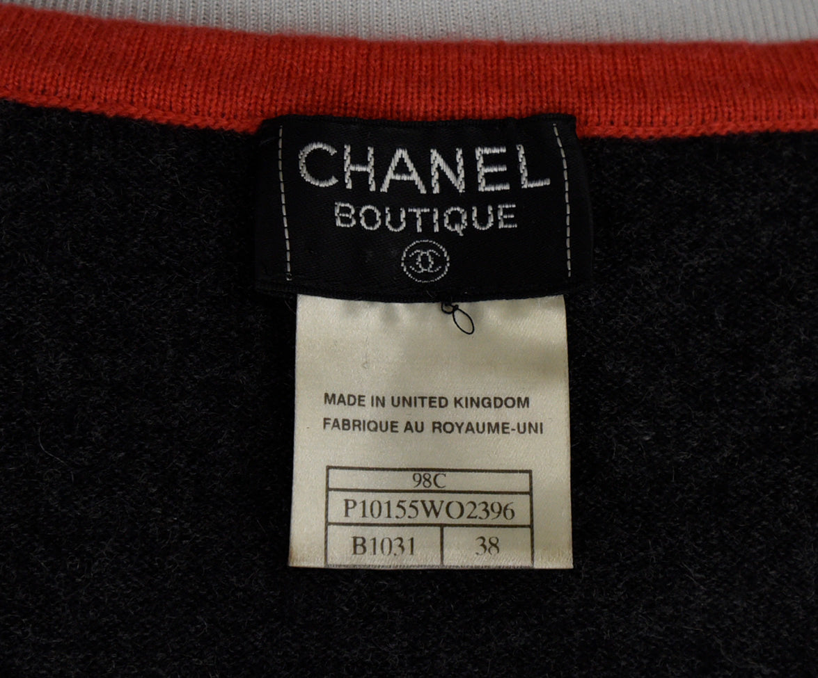 Chanel Charcoal Orange Lilac Cashmere Top 4