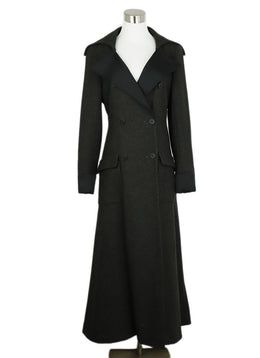 Chanel Charcoal Wool Black Satin Trim Coat 1