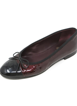 Chanel Dark Red Metallic Patent Leather Flats 1