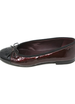 Chanel Dark Red Metallic Patent Leather Flats 2