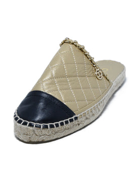 Chanel Metallic Gold Black Leather Espadrilles Flats 1