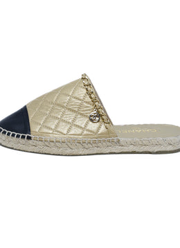 Chanel Metallic Gold Black Leather Espadrilles Flats 2