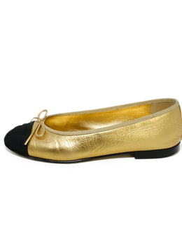 Chanel Gold Black Trim Leather Flats 2