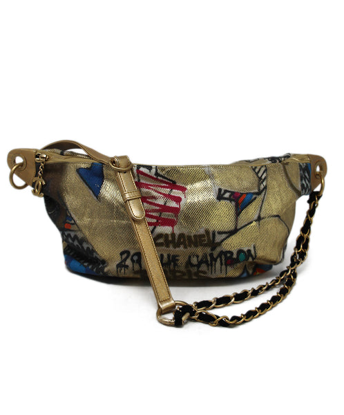 Fannypack Chanel Metallic Gold Canvas Print 1