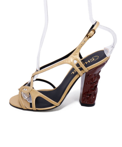 Chanel Metallic Gold Leather Wine Enamel Heels 1