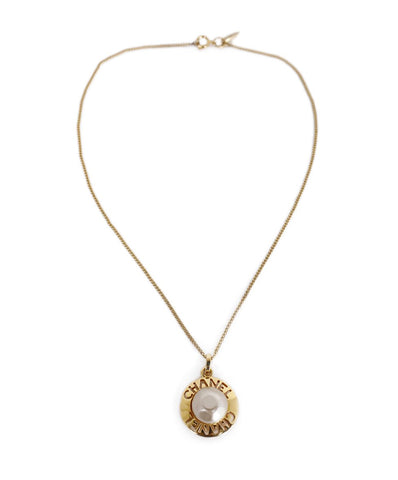 Chanel Gold Metal Pearl Pendant Necklace 1