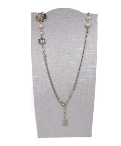 Chanel Metallic Gold Pearls Pink Blue Stone W/Bow Necklace  Jewelry 1