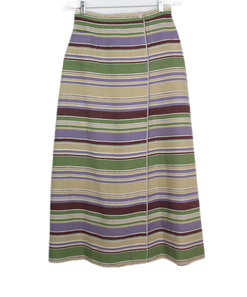 Chanel green beige lilac stripes skirt 1