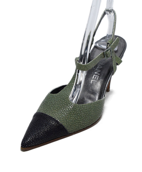 Chanel Green Black Sting Ray Slingback Heels 1