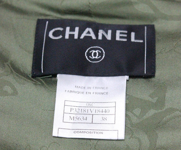 Chanel Green Olive Brown Silk Linen Jacket 3