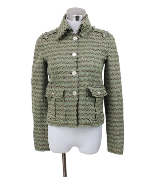 Chanel Green Olive Brown Silk Linen Jacket