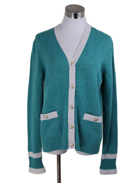 Cardigan Chanel Green White Cashmere Sweater 1