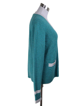 Cardigan Chanel Green White Cashmere Sweater 2